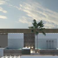 Área de lazer com piscina em espaço pequeno